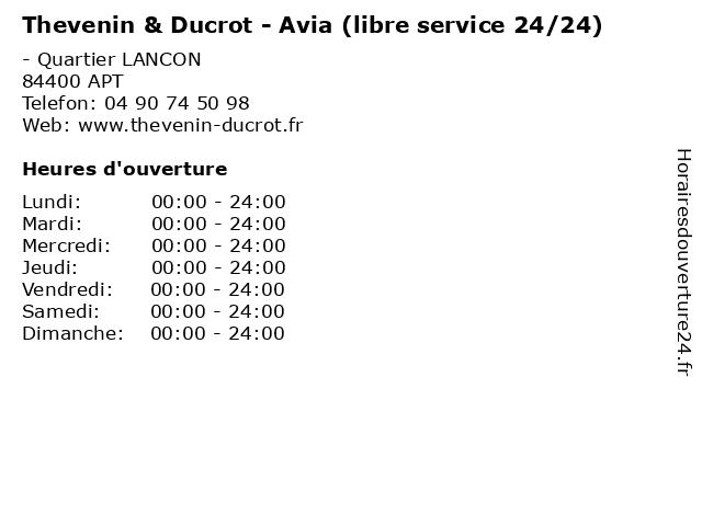 Thevenin & Ducrot - Avia (libre service 24/24) à APT: adresse et heures d'ouverture
