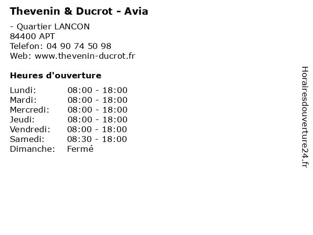 Thevenin & Ducrot - Avia à APT: adresse et heures d'ouverture