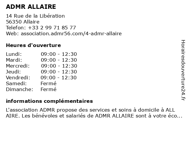 ADMR ALLAIRE à Allaire: adresse et heures d'ouverture