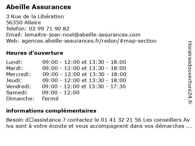 Aviva Assurance à Allaire: adresse et heures d'ouverture