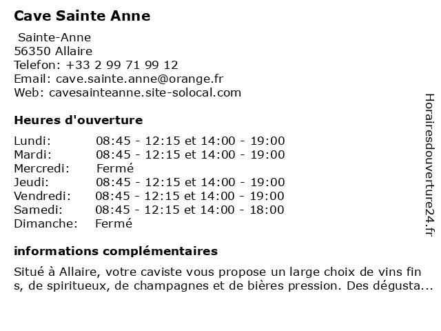 CAVE SAINTE ANNE - JEGAT Hugues et Isabelle à Allaire: adresse et heures d'ouverture