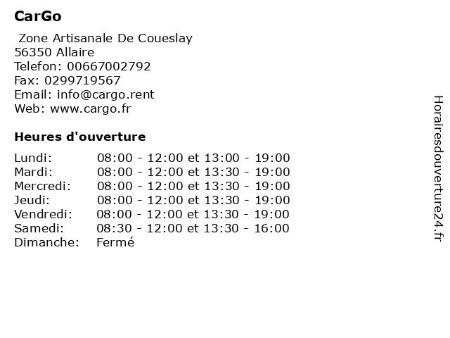 CarGo à Allaire: adresse et heures d'ouverture