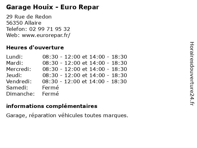 Garage Houix - Euro Repar à Allaire: adresse et heures d'ouverture