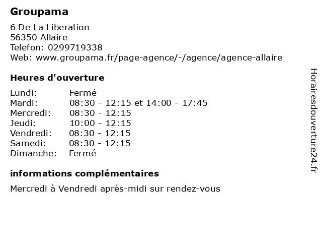 Groupama à Allaire: adresse et heures d'ouverture