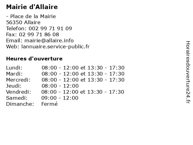 Mairie d'Allaire à Allaire: adresse et heures d'ouverture
