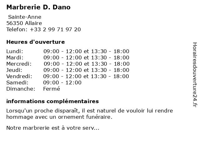 Marbrerie D. Dano à Allaire: adresse et heures d'ouverture