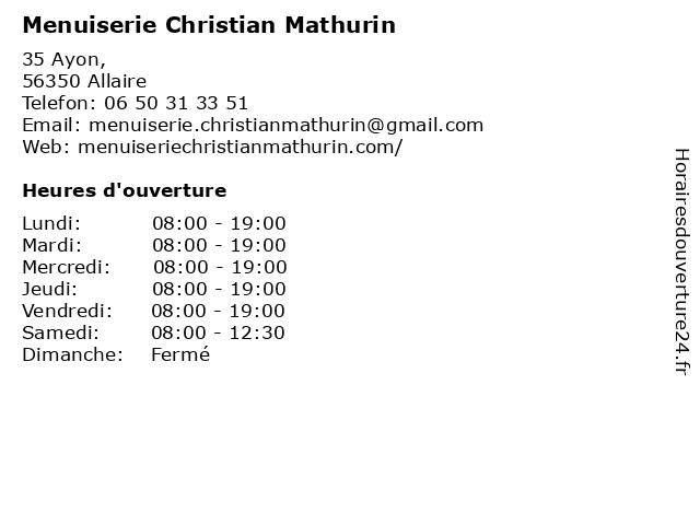 Menuiserie Christian Mathurin à Allaire: adresse et heures d'ouverture