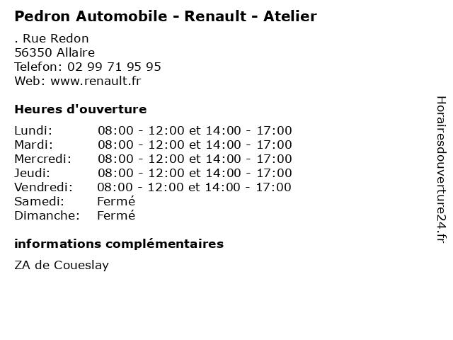 Pedron Automobile - Renault - Atelier à Allaire: adresse et heures d'ouverture