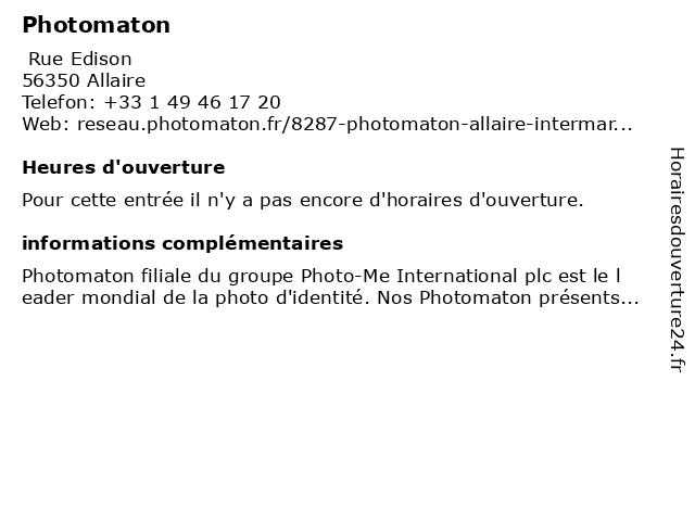 Photomaton à Allaire: adresse et heures d'ouverture