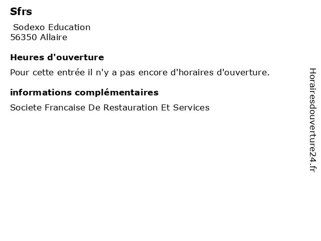 Sfrs à Allaire: adresse et heures d'ouverture