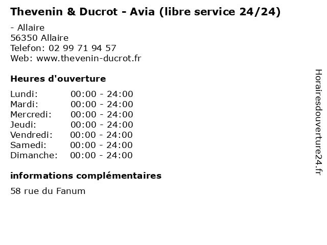 Thevenin & Ducrot - Avia (libre service 24/24) à Allaire: adresse et heures d'ouverture