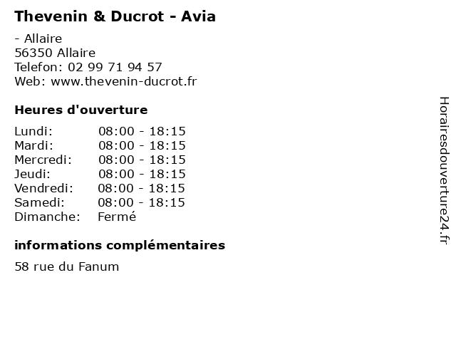 Thevenin & Ducrot - Avia à Allaire: adresse et heures d'ouverture