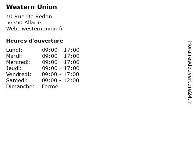Western Union à Allaire: adresse et heures d'ouverture