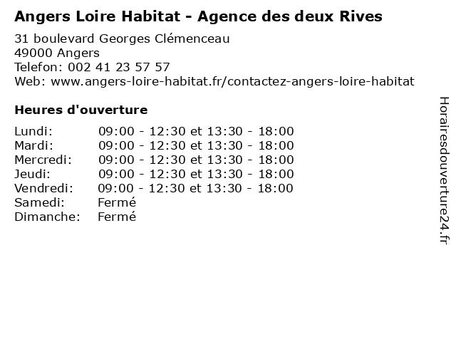 Angers Loire Habitat - Agence des deux Rives à Angers: adresse et heures d'ouverture