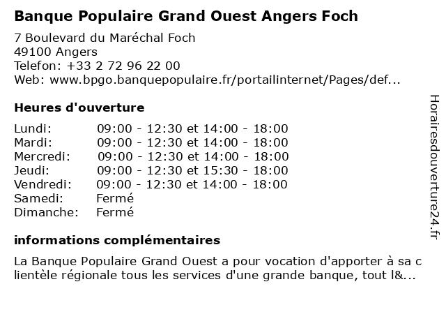 Banque Populaire Grand Ouest Angers Foch à Angers: adresse et heures d'ouverture