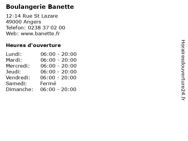 Boulangerie Banette à Angers: adresse et heures d'ouverture