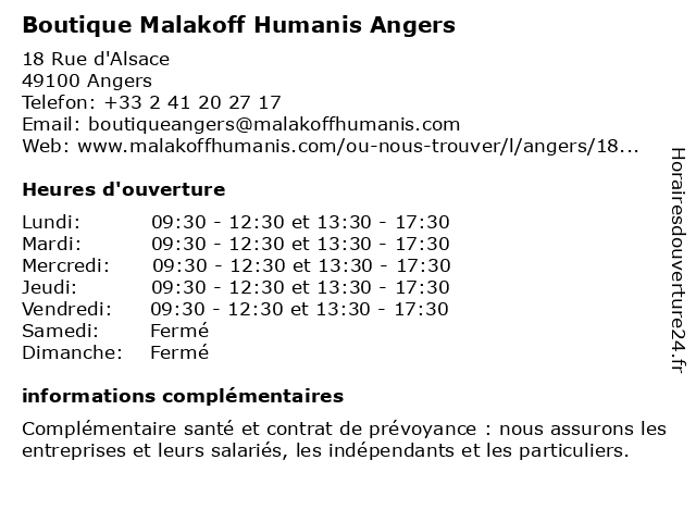 Boutique Malakoff Humanis Angers à Angers: adresse et heures d'ouverture