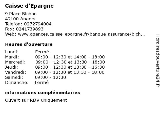Caisse d'Epargne à Angers: adresse et heures d'ouverture