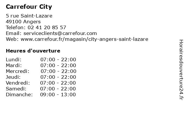 Carrefour City à Angers: adresse et heures d'ouverture