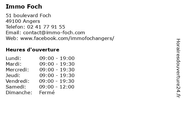Immo Foch à Angers: adresse et heures d'ouverture