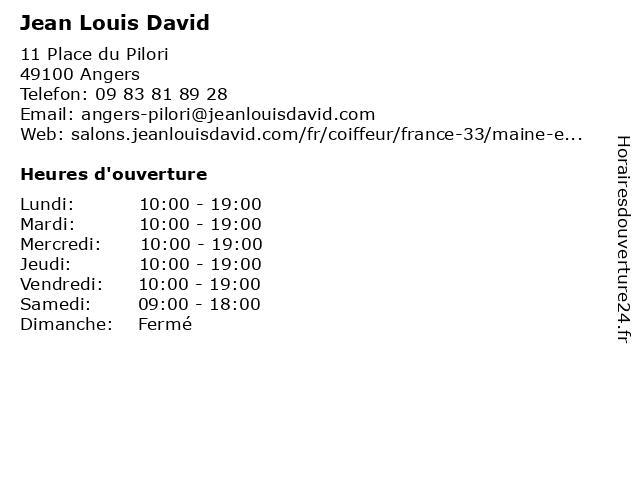Jean Louis David à Angers: adresse et heures d'ouverture