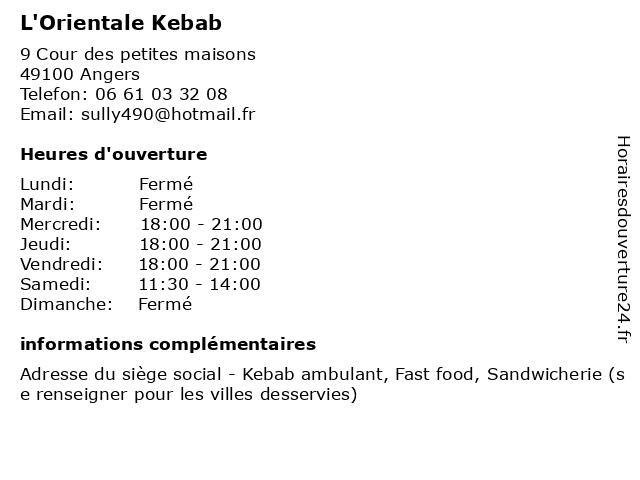 L'Orientale Kebab à Angers: adresse et heures d'ouverture