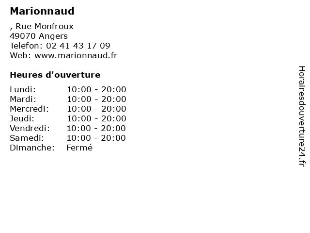 Marionnaud à Angers: adresse et heures d'ouverture