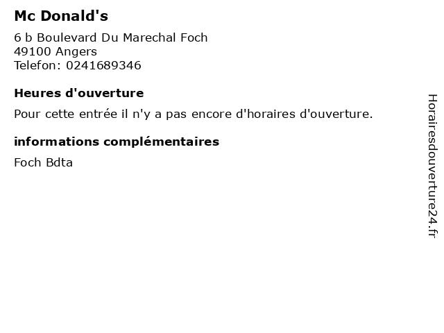 Mc Donald's à Angers: adresse et heures d'ouverture