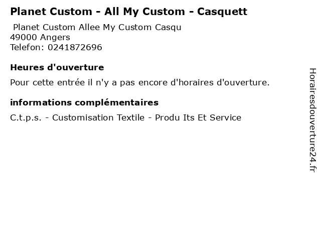 Planet Custom - All My Custom - Casquett à Angers: adresse et heures d'ouverture