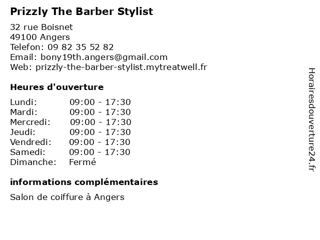 Prizzly The Barber Stylist à Angers: adresse et heures d'ouverture