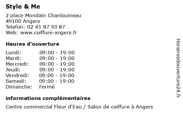 Style & Me à Angers: adresse et heures d'ouverture