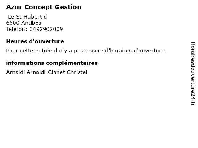 Azur Concept Gestion à Antibes: adresse et heures d'ouverture