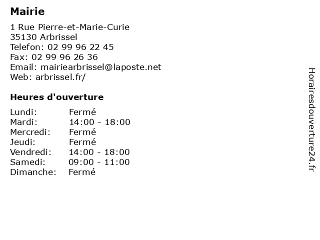 Mairie à Arbrissel: adresse et heures d'ouverture