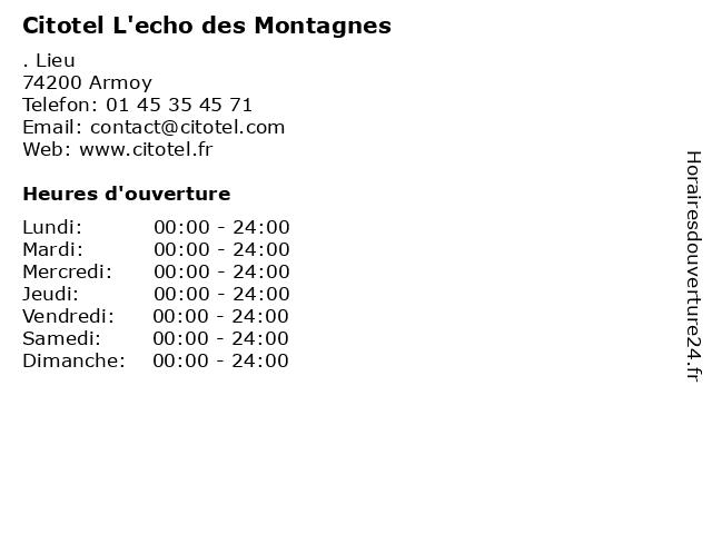 Citotel L'echo des Montagnes à Armoy: adresse et heures d'ouverture