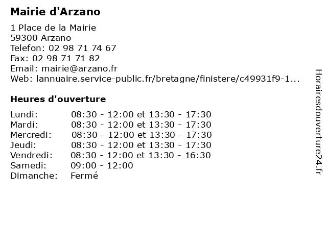 Mairie d'Arzano à Arzano: adresse et heures d'ouverture