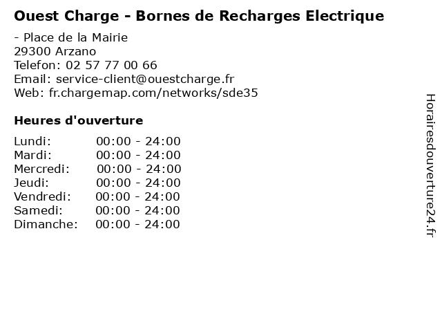 Ouest Charge - Bornes de Recharges Electrique à Arzano: adresse et heures d'ouverture