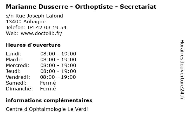 Marianne Dusserre - Orthoptiste - Secretariat à Aubagne: adresse et heures d'ouverture
