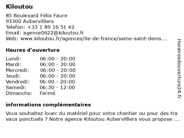 Kiloutou à Aubervilliers: adresse et heures d'ouverture