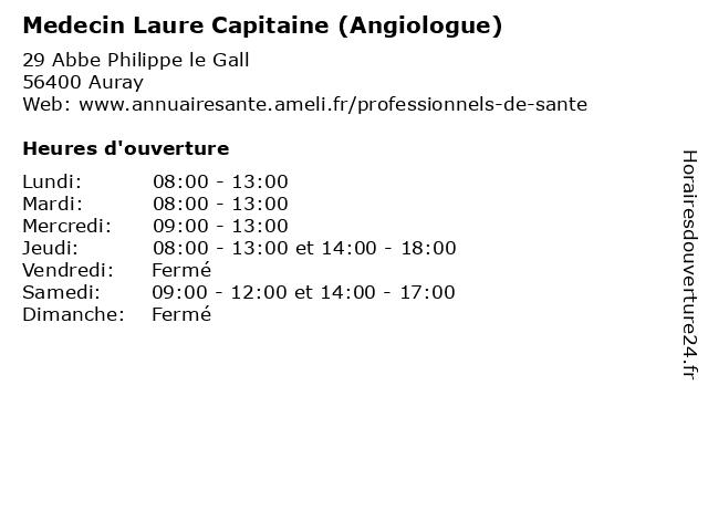 Medecin Laure Capitaine (Angiologue) à Auray: adresse et heures d'ouverture