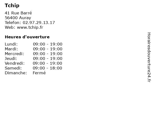 Tchip à Auray: adresse et heures d'ouverture