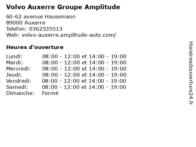 Volvo Auxerre Groupe Amplitude à Auxerre: adresse et heures d'ouverture