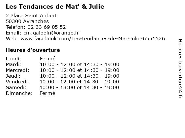Les Tendances de Mat' & Julie à Avranches: adresse et heures d'ouverture