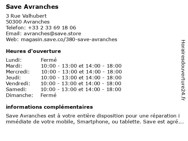 Save Avranches à Avranches: adresse et heures d'ouverture