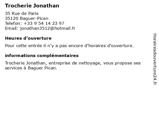 Trocherie Jonathan à Baguer-Pican: adresse et heures d'ouverture