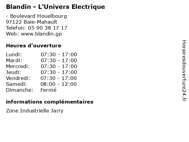 Blandin - L'Univers Electrique à Baie-Mahault: adresse et heures d'ouverture