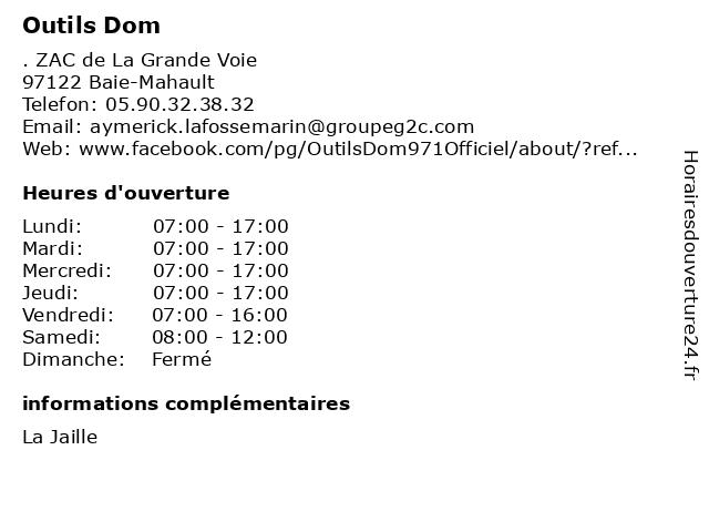 Outils Dom à Baie-Mahault: adresse et heures d'ouverture