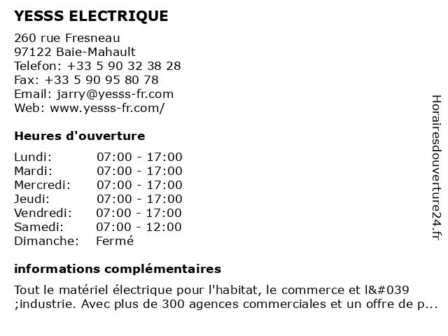 YESSS ELECTRIQUE à Baie-Mahault: adresse et heures d'ouverture