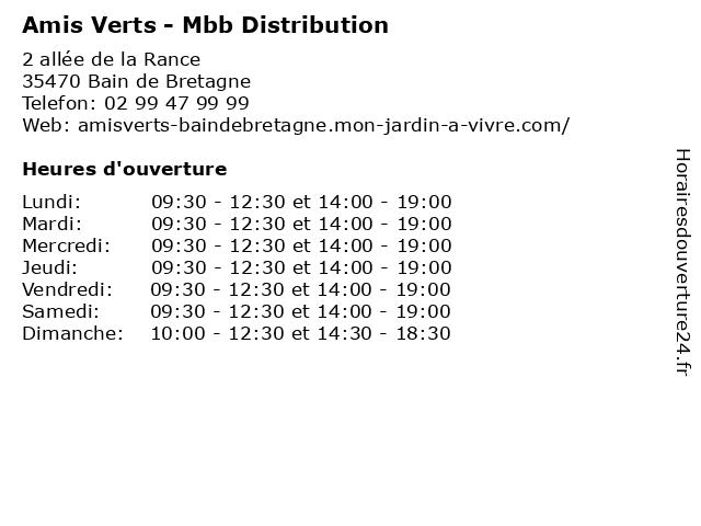 Amis Verts - Mbb Distribution à Bain de Bretagne: adresse et heures d'ouverture