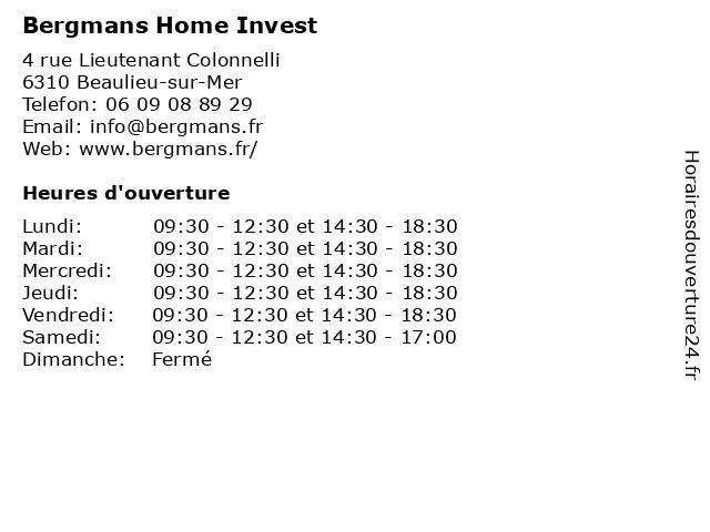 Bergmans Home Invest à Beaulieu-sur-Mer: adresse et heures d'ouverture