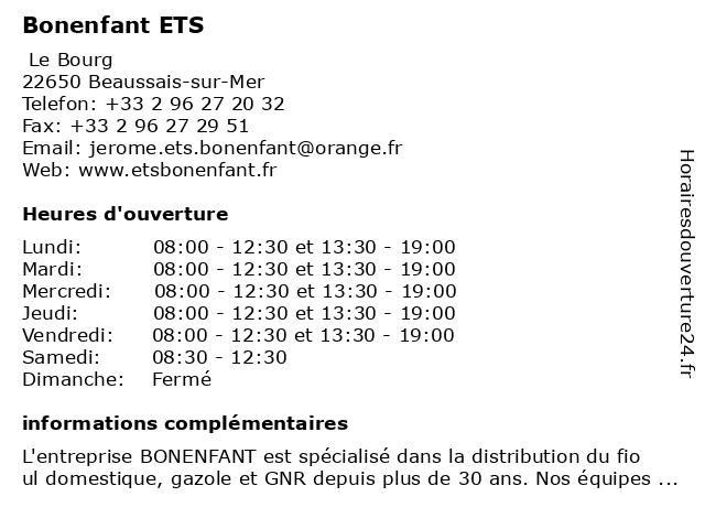 Bonenfant ETS à Beaussais-sur-Mer: adresse et heures d'ouverture